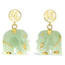 Designer 14K Solid Yellow Gold and Jade Gemstone Elephant Earrings