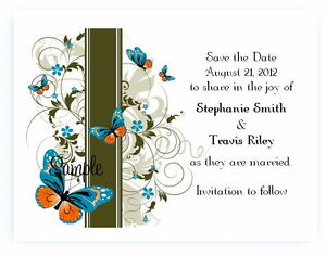 100 Personalized Custom Blue Butterfly Wedding Bridal Save The Date Cards