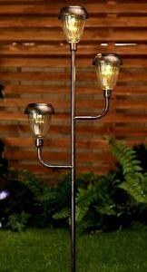Solar Powered Bronze Colour Triple Solar Lantern Lights Garden Stake Decoration