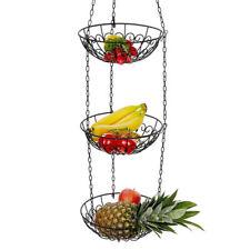 3 Tier Basket Fruit Vegetable Holder Bowl Round Hanging Storage Kitchen Organize