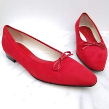 ADRIENNE VITTADINI Italy Red Suede Ballet Flat Leather Bow Women's Shoes 8.5 M