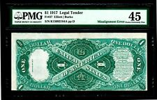 1917 $1 Legal Tender Misalignment Error PMG EF 45