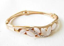 Blush Pink Gold Silver Diamante Faux Opal Bracelet Bangle Bridal Bridesmaid 1712