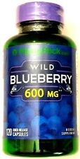 600mg Wild Blueberry Fruit 5:1 Extract 120 Capsules Antioxidant Supplement Pill