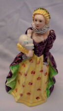 "Goldscheider Queen Elizabeth Figurine, Crown, Purple, Yellow 7.25"" Tall Vintage"