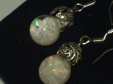 FIERY FLOATING AUSTRALAN  OPALS SNOW GLOBE 925 STERLING EARRINGS