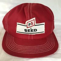 Vintage FS Seed K Products Made in USA Hat Snapback Trucker Red Cap Patch Farm
