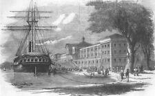 TURKEY. Kuleieh Barracks, Istanbul ; Disembarking, antique print, 1854