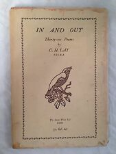 Cecil Howard Lay - In and Out - Swan Press - 1st/1st 1930 in Original Jacket