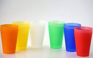 6 Plastik Mehrweg Trinkbecher 0,4 l Mix-Paket Partybecher Plastikbecher Becher