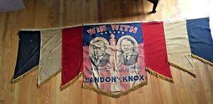 Original 1936 Republican Presidential Banner Alfred Landon & Frank Knox