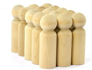 "12-Large Man Unfinished Wood Peg Dolls | 3-9/16"" Tall x 1-1/8"" Diameter"