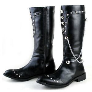 Mens Metal Chain Rivets Pointed Toe Zip Side Knee High Riding Boots Fashion Boot