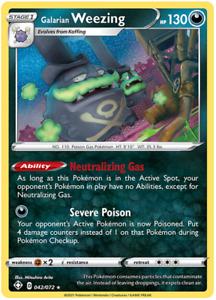 Pokemon TCG Shining Fates Galarian Weezing Rare Holo 042/072 - Brand New Mint