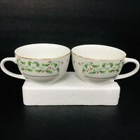 Everyday Gibson Coffee Tea Cups Set of 6 Christmas Charm Holly Berry Gold Trim
