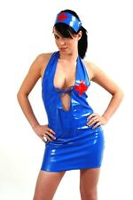 LOUIMANE**NURSE UNIFORM ht Naughty & Sexy, BLUE PVC OUTFIT COSTUME IN SIZES 8-22