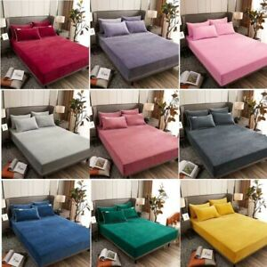 Winter warm Bed Sheet Solid Flannel Elastic fit super soft queen king 9 colors