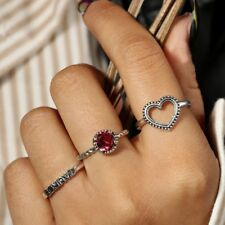 Ring Red Crystal Rhinestone Ring Set Knuckle Ring Letter Taurus Love Heart