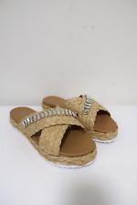 Prada Slide Sandals Crystal-Embellished Braided Raffia Size 39 NEW