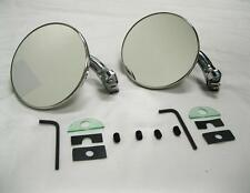 "CHROME 4"" Universal Door Edge Peep Mirrors w/ Short Arm Retro Street Rod PAIR"