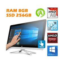 """COMPUTER AIO ALL IN ONE HP 24"""" TOUCHSCREEN TOUCH AMD A8 8GB 256GB 1080P WEBCAM."""