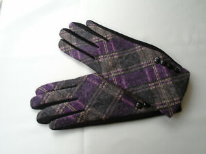 Ladies Tartan Fleece Lined Winter Gloves Purple Grey Tones 4 Buttons Detail