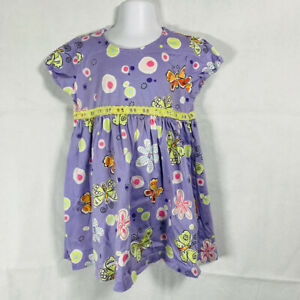 Girls BOUTIQUE HANNA ANDERSSON PURPLE LIME GREEN Floral SLEEVELESS DRESS 90 3T