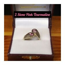 TWO STONE PINK TOURMALINE BYPASS RING IN 10K YELLOW GOLD