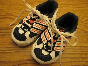 Adidas size 4K infant navy blue & white mesh lace-up athletic shoes Excel.