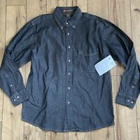 Harriton Men's Long Sleeve Dark Wash Denim Shirt Size Medium NWT