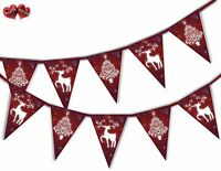 Reindeer Red Christmas Tree Bunting Banner 15 flags by PARTY DECOR