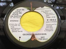 Rare Promo Beatles Apple 45 : George Harrison ~ Give Me Love - Give Me Peace