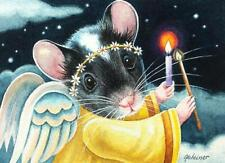 ACEO Limited Edition Print Christmas Angel Mouse Lighting Candle by J. Weiner