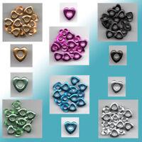 15 Eyelets  Nieten Ösen Herzen 10mm x 4mm verschiedene Farben zur Auswahl