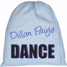 BLUE PERSONALISED - DANCE TEXT - LARGE COTTON DRAWSTRING BAG - tap,modern,jazz