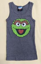 Sesame Streets Oscar the Grouch Dark Gray Tank Top Juniors Size Small Junk Food