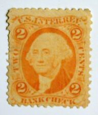 US Revenue Stamp #R6d – 1862-71 2-cent Bankcheck Orange - Red-Blue-Green Silk