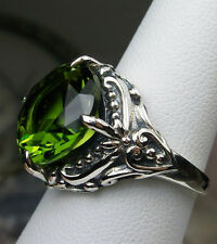 6ct Round Sim Peridot Sterling Silver Victorian Filigree Ring {Made To Order}