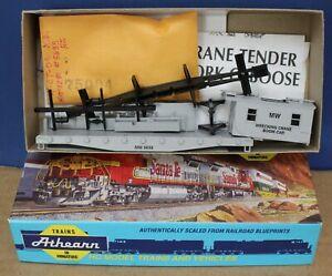 Athearn 1281 HO MOW Work Train Caboose Wrecking Crane Boom Car Kit Gray NIB