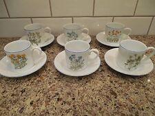 6 Sets of ESPRESSO DEMITASSE CUPS and SAUCERS White Porcelain Floral Design Blue