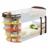 ACME Neptune Twin over Twin Storage Bunk Bed in White and Chocolate