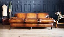 George Smith 3 Seat Signature Sofa in Hand Dyed Oak Leather rrp £10,651