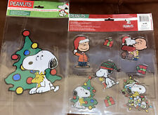 2 PEANUTS Snoopy WINTER  Window Clings REUSABLE New