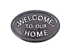 SILVER WELCOME TO OUR HOME - GARDEN/GARAGE WALL PLAQUE / SIGN - BRAND NEW