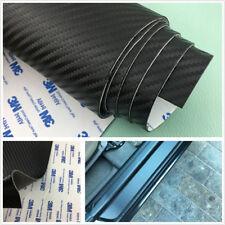 Black Carbon Fiber Leather Autos Scuff Plate Door Sill Cover Step Guard 120X50cm