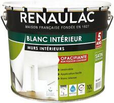 Renaulac Peinture intérieur Murs & Plafonds Bicouche Acrylique Blanc Satin 10L -
