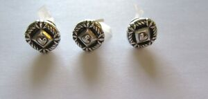 Brighton Push Pins- Set of Three- silver color- round with heart in center