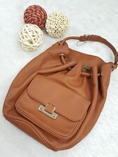 Charles & Keith Brown Bucket Shoulder Drawstring Hobo Bag