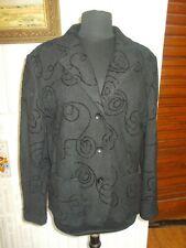 Veste blazer viscose/laine bouillie noir LEBEK 44F 16UK 42D surpiquée