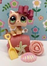 Authentic Littlest Pet Shop # 1818 Orange White Kitten Patch Green Eyes